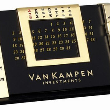TABLE CALENDAR - GOLD: Card Holder With Desk Clock