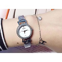 """Hermes"" High Quality Stylish Women Simple Diamond Movement Quartz Watch Wristwatch  Titanium Steel Bracelet Set"