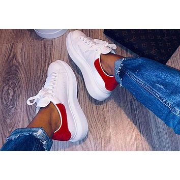 Alexander McQueen Fashion New Velvet Tail Sports Running Casual Personality Shoes Red