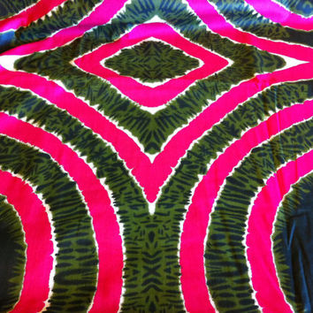African Wax Print Fabric by the Half  Yard. Watermelon Pink and Olive Green--Made in Mali