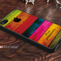 iphone 4 case iphone 4s case iphone 4 cover colorized green pink wood texture Iphone Logo design printing