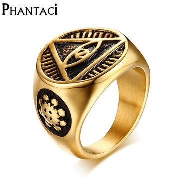 Phantaci Vintage Style Black Man Ring Illuminati Pyramid Eyes Symbol Pattern Gold Color High Quality Stainless Steel Male Rings