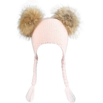 Winter Hats for Unisex feitong Fashion Design Autumn Winter Children Beanie Hats For Gilrs And Boys With Real Raccoon Fur Hat