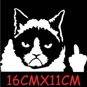 JETTING 1 PC Car Styling Grumpy Cat Car Stickers and Decals Window Tail Sticker 11*16CM