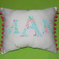 New monogram pillow made with Lilly Pulitzer Lobstah Roll fabric