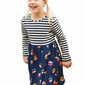 Navy Striped Cartoon Hedgehog Kid Dress