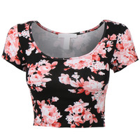 LE3NO Womens Fitted Short Sleeve Scoop Neck Floral Print Crop Top with Stretch