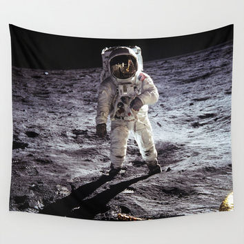 Wall Tapestry, Moon Tapestry, Wall Hanging, Moon Astronaut Buzz Aldrin Space, Space Wall Art,Large Photo Wall Art,Modern Tapestry,Home Decor