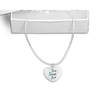 Teal Ribbon Live Laugh Love Necklace for Cancer