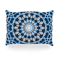 "Iris Lehnhardt ""Mandala II"" Blue Abstract Oblong Pillow"