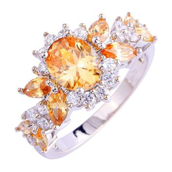 Classic Morganite Flower Design Silver Ring