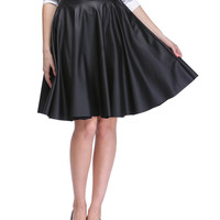 Elastic High Waist Leather Midi Skirt