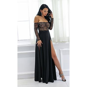 Reach New Heights Long Sleeve Mesh Glitter Off The Shoulder Two Slit Maxi Dress - 2 Colors Available