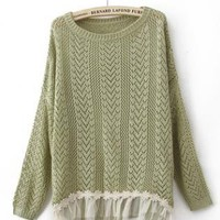 Green Long Sleeve Contrast Lace Hem Open Mesh Stitch Sweater