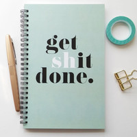 Writing journal, spiral notebook, sketchbook, bullet journal, black and mint, to do list, blank lined or grid paper - Get S**t done