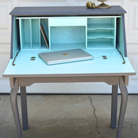 PORTFOLIO Secretary Desk  - Slate and Aqua Painted Curved Leg Table