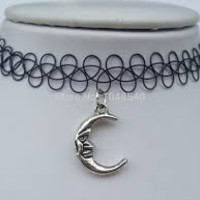Black Plastic Tattoo Choker with Moon