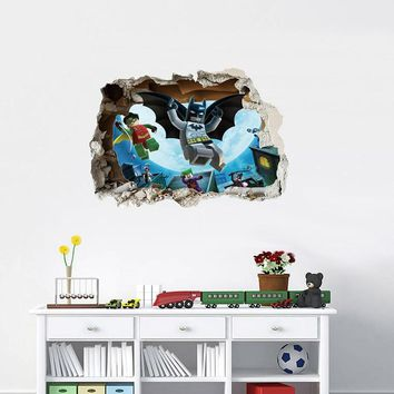 Lego Batman Super Heros Broken Wall Stickers For Nursery Kids Room Decoration Movie 3D Mural Art PVC Cartoon Avengers Home Decal