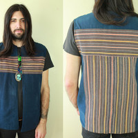 Vintage - 70s - Hippie - Boho - Blue - Woven - Ethnic Striped - Guatemalan - Mens - Cotton Vest