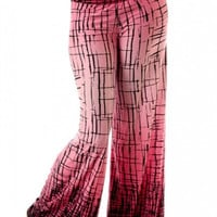 Abstract Crackle Print Wide Palazzo Pants-Ombre Fuchsia