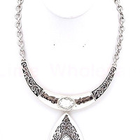 Crystal Tear Drop Necklace with Earrings