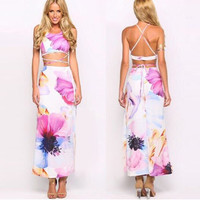 Floral Backless Crop Top And Long Skirt