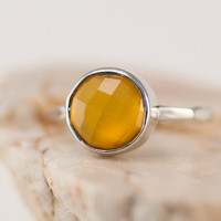 Yellow Chalcedony Ring - Stacking Ring - Gemstone Ring - Silver Rings - Stackable Ring