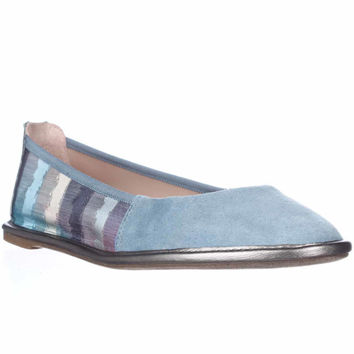 Enzo Angiolini Nation Zipper Back Ballet Flats - Blue Multi Fabric