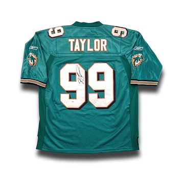 Jason Taylor Signed Miami Dolphins Jersey COA PSA/DNA Teal Autograph Home