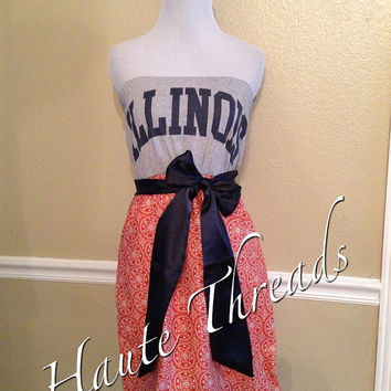 Illinois FIGHTING ILLINI Football College Gameday Navy Orange White Medallion Tube Strapless T-Shirt Dress with Navy Sash Bow - Medium
