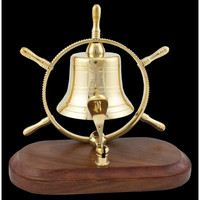 """Brass Plated Ship Wheel Bell on Wood Base 7"""""""