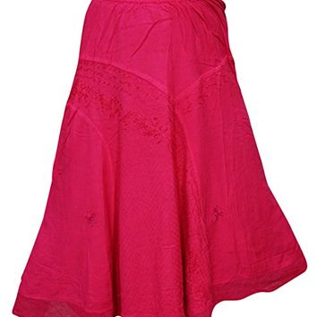Women's Pink Boho Skirt Embroidered Rayon Maxi Hippie Skirts