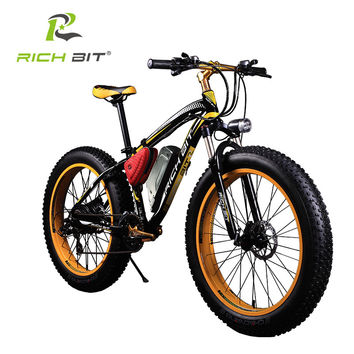 RichBit Electric Bike Powerful Fat Tire Electric Mountain Bike 48V 17AH 1000W eBike Beach Cruiser 7 Speed Electric Snow Bicycle