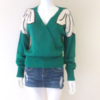 Vintage Emerald Green and White Knitted V-neck Sweater 1970s Womens Medium Angora with Faux Pearl Clusters Art Deco Style