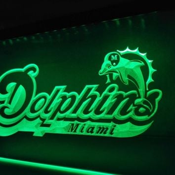 LD070- Miami Dolphins Footbal Bar   LED Neon Light Sign     home decor  crafts