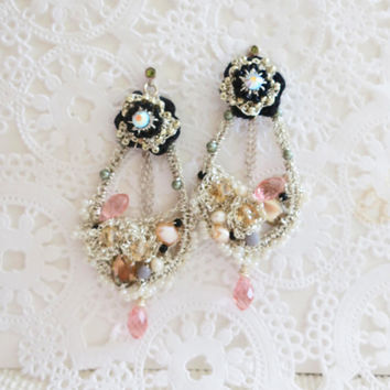 Tear Drop Earrings  Crystal Chandelier Earrings  Black by sukran