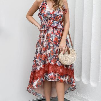 ADELYN RAE Rust Floral Maxi Dress