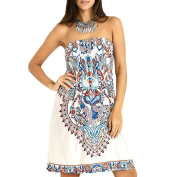 Bohemian Style Women Summer Strapless Dress Shirred Paisley Ornate Printed Tube A-Line Dresses One Size