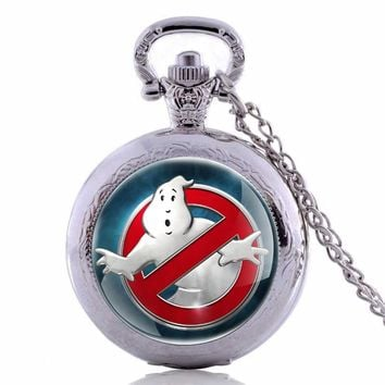 Vintage Ghostbusters Pocket Watch Necklace Film Cosplay Steampunk Pendant Men Women Ncklace Gift