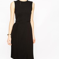 ASOS Clean Midi Dress with Pleat Side at asos.com