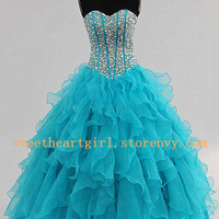 2013 Organza Sweetheart Ball Gown Blue Party dresses