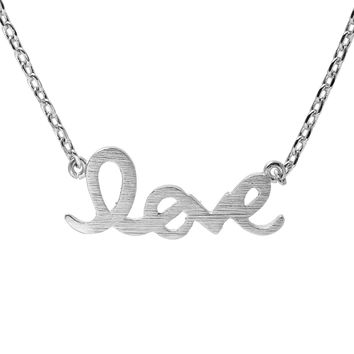Handcrafted Brushed Metal LOVE Script Necklace