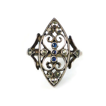 Sterling Sapphire Marcasite Ring, Silver Filigree, Open Work, Vintage Jewelry, Ladies Ring, Size 6.75