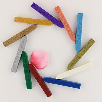JESJELIU 12 colors Vintage Retro Sealing Wax Seal Dedicated Beeswax Stick Wax Strips Paint Stamp Rod Wax Grip Mount for Stamps