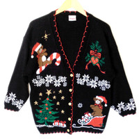 Vintage 80s Teddy Bears Tacky Sparkle Ugly Christmas Sweater