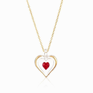 July Gold Trim Swarovski Birthstone Heart Necklace