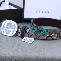 DCCKIN2 New Gucci GG Supreme Belt With G Buckle Belt Size 90CM For Waist 30-32