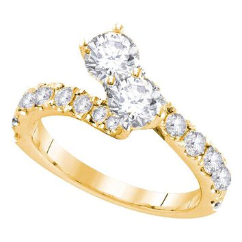 14kt Yellow Gold Womens Round Diamond 2-stone Hearts Together Bridal Wedding Engagement Ring 1-3/8 Cttw