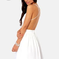 LULUS Exclusive Seeing Starlets Backless Ivory Dress
