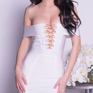 EMIA BANDAGE DRESS IN WHITE
